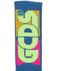 Gcds Macro Round Logo Cotton Blend Socks - Blau