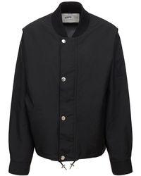 AMI ナイロンキャンバスボンバージャケット - ブラック