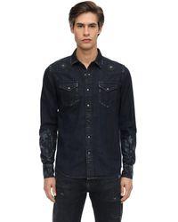 Htc Los Angeles Distressed Cotton Denim Shirt - Black