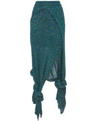 Loewe スパンコールニットジャージースカート - ブルー
