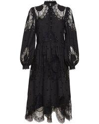 Temperley London コットンブレンドレースドレス - ブラック