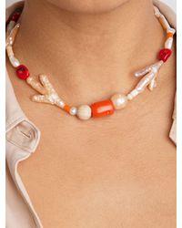 """WALD BERLIN Halsband Mit Perle Und Koralle """"et Moi"""" - Weiß"""