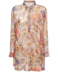 Etro Платье Из Шелка С Карманами - Многоцветный