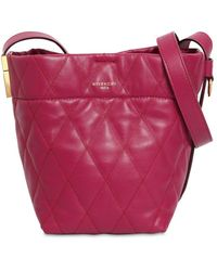 Givenchy Mini Gv Quilted Leather Bucket Bag - Purple