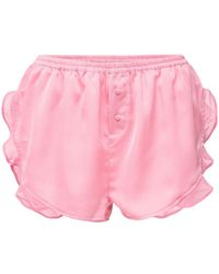 Love Stories Mae Satin Ruffled Shorts - Pink