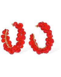 Simone Rocha Medium Wiggle Crystal Hoop Earrings - Rot