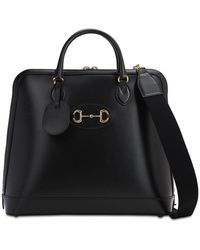 Gucci Horsebite Detail Leather Tote Bag - Black