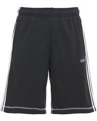 adidas Originals Shorts Aus Baumwollmischfleece In Kontrastfarbe - Schwarz