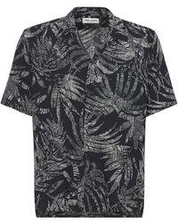 Saint Laurent Вискозная Рубашка С Принтом - Черный