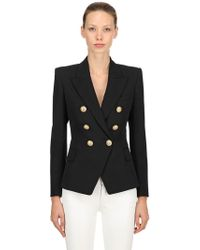 Balmain - Double Breasted Cool Wool Blazer - Lyst