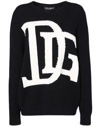 Dolce & Gabbana - オーバーサイズインターシャロゴウールセーター - Lyst
