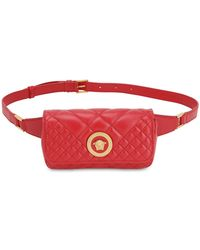 Versace Icon Quilted Leather Belt Bag - Red