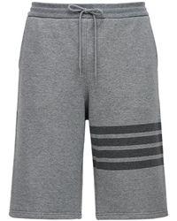 Thom Browne Shorts In Felpa Di Cotone - Grigio