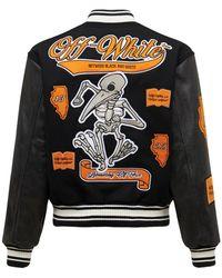 Off-White c/o Virgil Abloh Leather Varsity Jacket - Черный