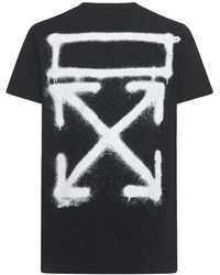 Off-White c/o Virgil Abloh T-shirt Aus Baumwolljersey Mit Spray-druck - Schwarz