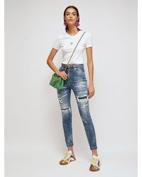 Dolce & Gabbana Hochtaillierte Jeans Aus Baumwolldenim Mit Rissen - Blau