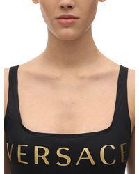 Versace Badeanzug Aus Bedrucktem Lycra - Schwarz
