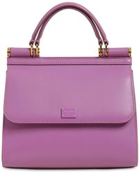 Dolce & Gabbana Sicily 58 Small Leather Top Handle Bag - Purple
