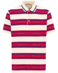 Gucci Poloshirt Aus Gestreiftem Baumwolljacquard - Rot