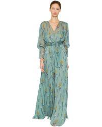 Luisa Beccaria - Floral Printed Silk Chiffon Dress - Lyst