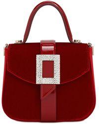 Roger Vivier Beau Vivier Velvet Top Handle Bag - Red