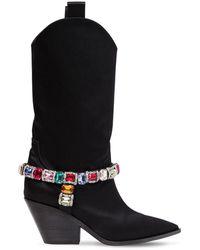 """Casadei Stivali Cowboy """"Rodeo"""" In Raso 60Mm - Nero"""