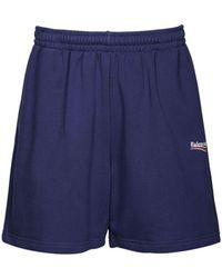 Balenciaga Political Logo Cotton Jersey Shorts - Blue