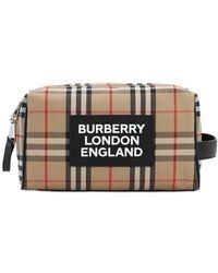 Burberry Neceser De Lona Con Cuadros Y Logo - Multicolor