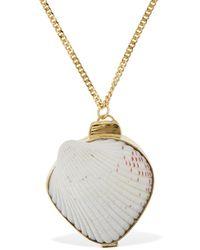 Jil Sander Long Necklace W/ Seashell - Metallic
