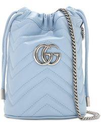 Gucci - Sac seau bleu Mini GG Marmont 2.0 - Lyst