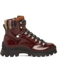 DSquared² Brushed Leather Tank Hiking Boots - Brown