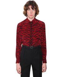 Saint Laurent Рубашка Из Шелка С Принтом - Красный