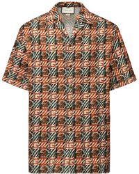 Gucci Camicia Bowling In Tela Di Cotone Gg - Multicolore