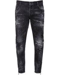 DSquared² Jeans Tidy Biker In Denim Di Cotone Con Zip 17cm - Nero
