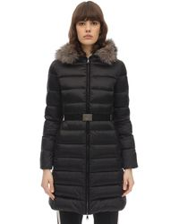 Moncler Tinuv Satin Fur Down Jacket - Black