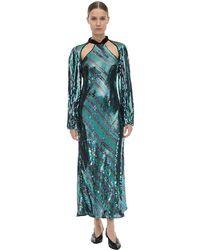 """RIXO London Платье Миди Из Вискозы """"celia"""" - Зеленый"""