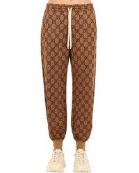 """Gucci Pantalones Deportiv """"Gg Supreme"""" De Algodón Jersey - Marrón"""