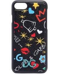 Dolce & Gabbana - Graffiti Printed Leather Iphone 7 Cover - Lyst