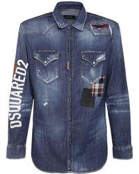 DSquared² Camicia In Denim Stretch Con Logo - Blu