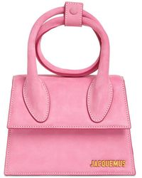 Jacquemus Le Chiquito Noeud Suede Bag - Pink