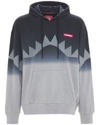 Sprayground Big Shark Printed Cotton Hoodie - Grey