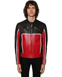 Givenchy Leather Biker Jacket W/reflective Detail - Red