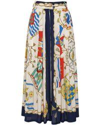 Etro シルクツイルプリーツスカート - ブルー