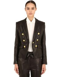Veronica Beard Cooke Double Breasted Leather Blazer - Black
