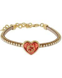 Gucci G & Crystal Heart レザーブレスレット - マルチカラー