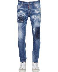 DSquared² 15cm Enge Jeans Aus Baumwolldenim - Blau