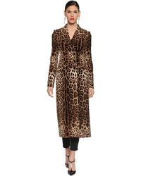 Dolce & Gabbana Manteau Long En Velours Stretch Imprimé - Marron