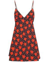 Saint Laurent Мини-платье Из Вискозы - Красный