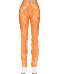 Saks Potts Glittered Stretch Jersey Pants - Orange