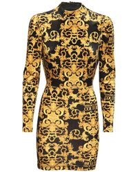 Versace Jeans Couture Vestito In Techno Velluto Stampato - Multicolore